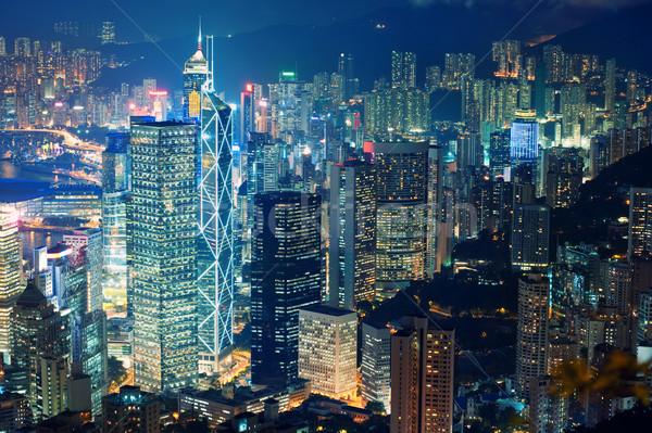 Centro de la ciudad noche ciudad diseno tiempo luces Foto stock © Nejron