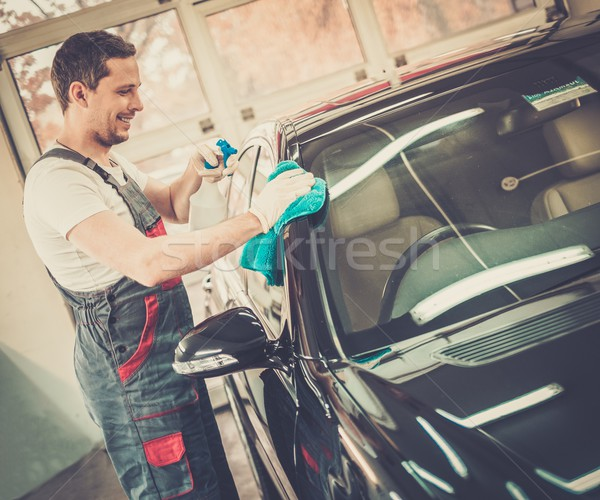 Munkás lomtár takarítás autó spray test Stock fotó © Nejron