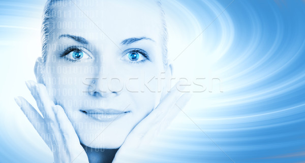 Beautiful cyber girl's face on abstract background Stock photo © Nejron