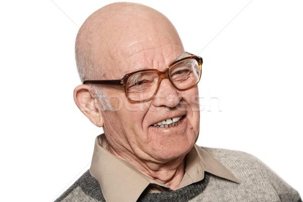 Happy elderly man isolated on white background Stock photo © Nejron