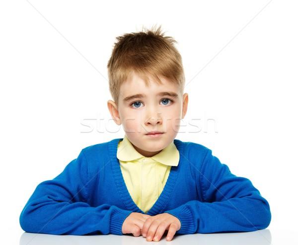 Infeliz pequeno menino azul cardigã amarelo Foto stock © Nejron