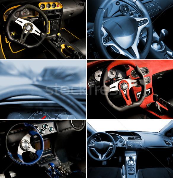 スポーツ 車 インテリア コラージュ デザイン 青 ストックフォト © Nejron
