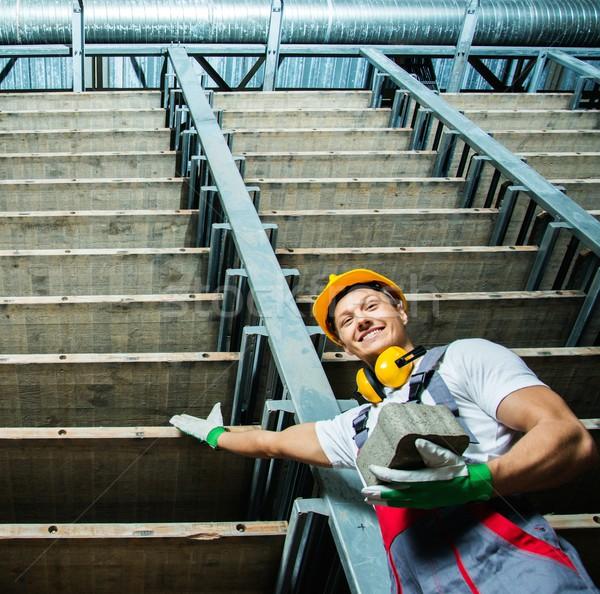 Boldog munkás tároló gyár ipari tégla Stock fotó © Nejron