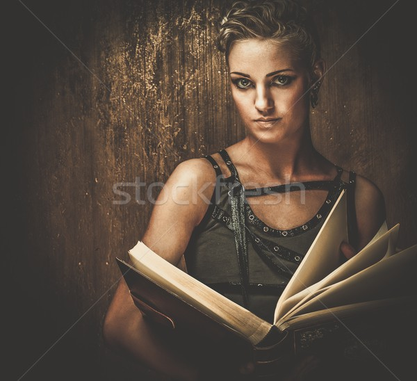 Steampunk kız kitap duvar endüstriyel okuma Stok fotoğraf © Nejron