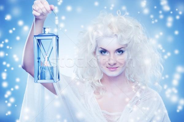 Schnee Königin Frau Mädchen Gesicht Schönheit Stock foto © Nejron