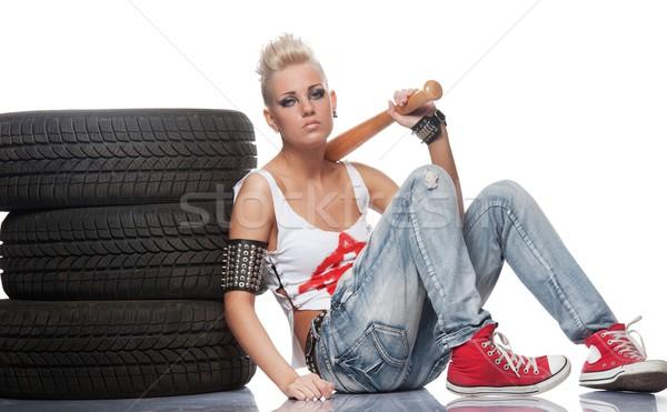 Punk ragazza bat seduta donna vernice Foto d'archivio © Nejron