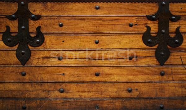 Metal ahşap doku duvar dizayn kapı Stok fotoğraf © Nejron