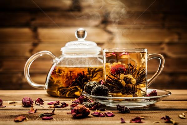 Demlik cam fincan çay çiçek Stok fotoğraf © Nejron