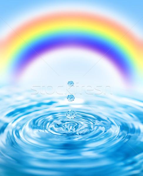 Queda água colorido arco-íris atrás Foto stock © Nejron