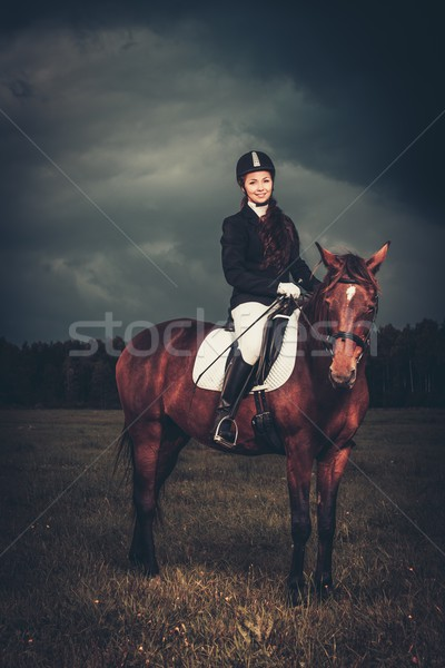 Stock photo: Beautiful girl sitting on a horse outdoors against moody sky