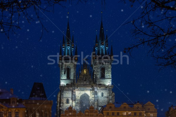 View of a Church of Our Lady before Tyn at night Stock photo © Nejron