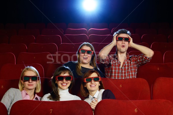 Group of people in 3D glasses watching movie in cinema Stock photo © Nejron