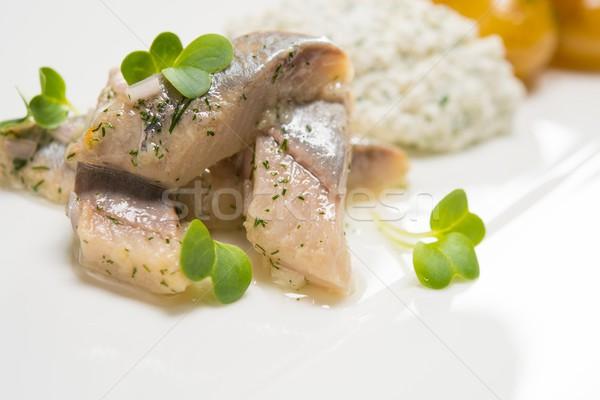 Stockfoto: Vis · aardappel · witte · plaat · voedsel