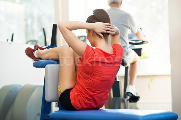Zdjęcia stock: Młoda · kobieta · starszy · człowiek · inny · fitness · kobieta