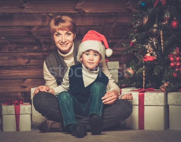 Stock fotó: Anya · kicsi · fiú · ajándék · doboz · karácsonyfa · fából · készült