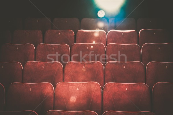 Empty comfortable red seats with numbers in cinema Stock photo © Nejron