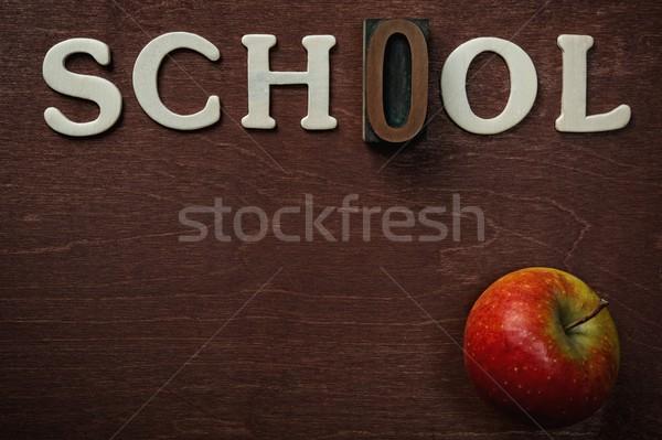 The word school written on wooden background Stock photo © Nejron