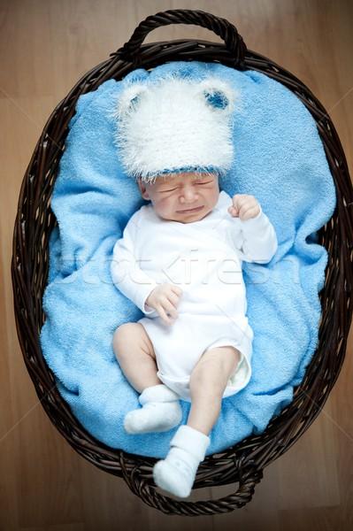 Sevimli küçük bebek ağlayan yüz arka plan Stok fotoğraf © Nejron