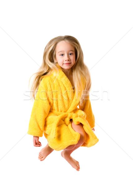 面白い ジャンプ 少女 バスローブ 孤立した 白 ストックフォト © Nejron