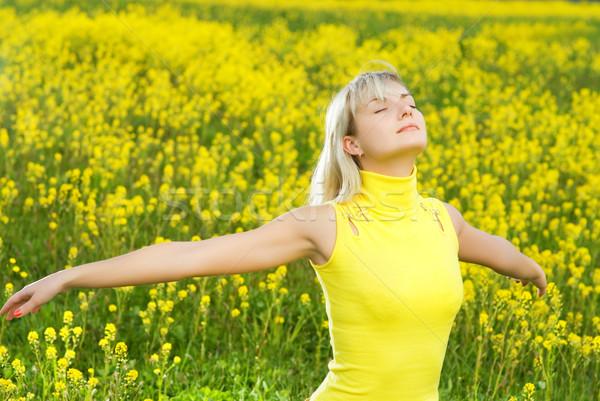 Belle jeune femme champ de fleurs femme fille herbe Photo stock © Nejron