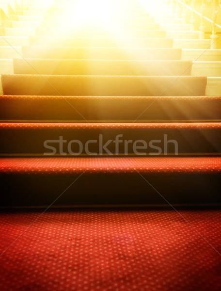 Escaleras cubierto alfombra roja fiesta luz diseno Foto stock © Nejron