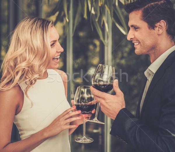 Pár szemüveg vörösbor étterem lány étel Stock fotó © Nejron