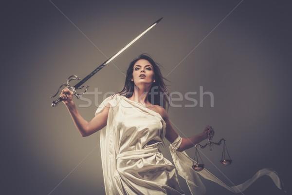 Dea giustizia scale spada bianco statua Foto d'archivio © Nejron