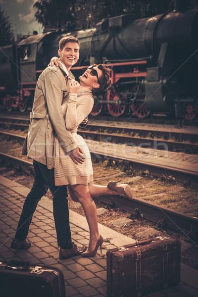 Vintage стиль пару железнодорожная станция Сток-фото © Nejron