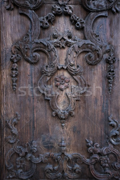 Floral embellishment on wooden panel Stock photo © Nejron