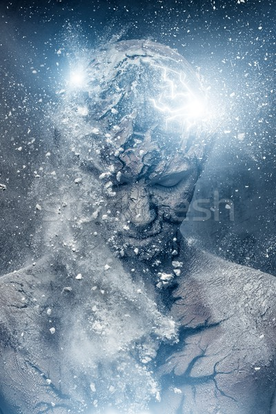 Uomo spirituale body art luce vernice fulmini Foto d'archivio © Nejron