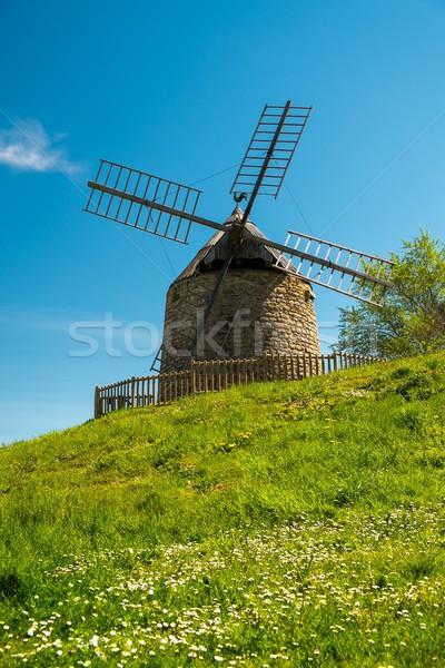 Old windmill on a beautiful flower hill Stock photo © Nejron