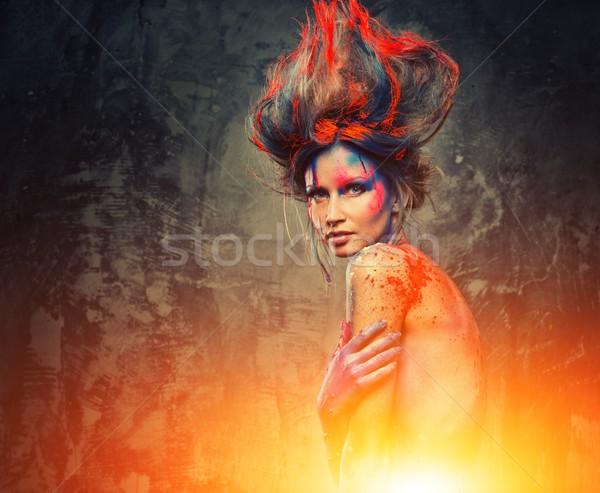 Młoda kobieta muse twórczej body art fryzura kobieta Zdjęcia stock © Nejron
