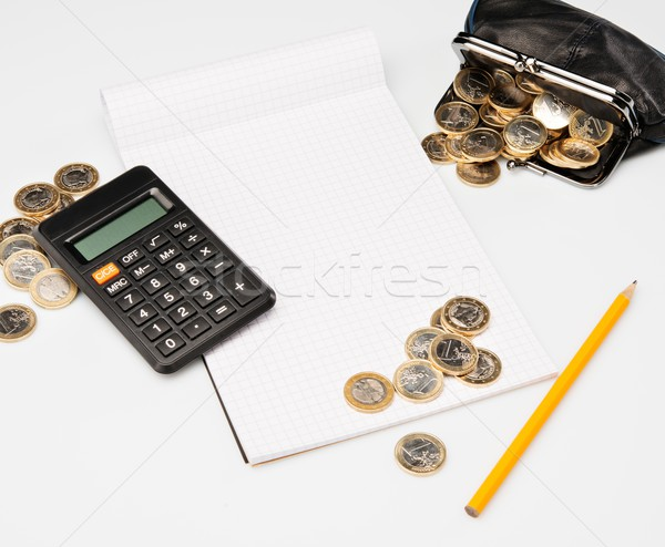 Despesas processo lápis caderno financiar banco Foto stock © Nejron