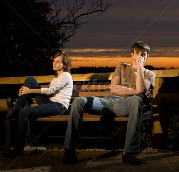 Fiatal pér esély egyéb férfi erdő éjszaka Stock fotó © Nejron
