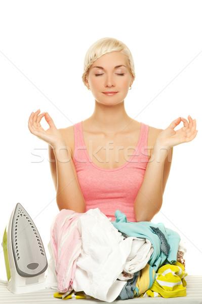 Mooie jonge vrouw mediteren strijken werk home Stockfoto © Nejron