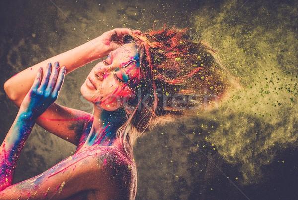 Foto stock: Muse · creativa · arte · del · cuerpo · peinado · mujer