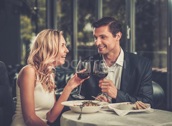Derűs pár étterem szemüveg vörösbor lány Stock fotó © Nejron