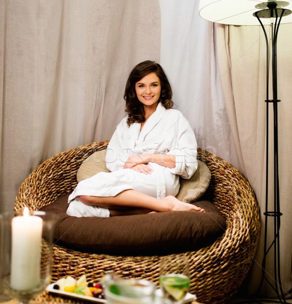 Foto stock: Mujer · hermosa · relajante · albornoz · spa · salón · mujer