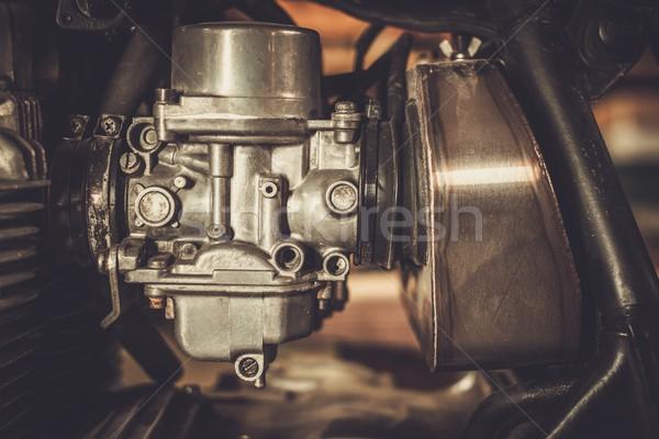 Motorcycle carburetor with custom made air filter box Stock photo © Nejron