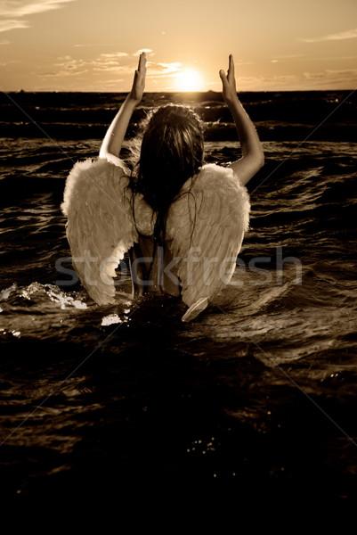 セピア 画像 ケルビム 水 少女 ストックフォト © Nejron