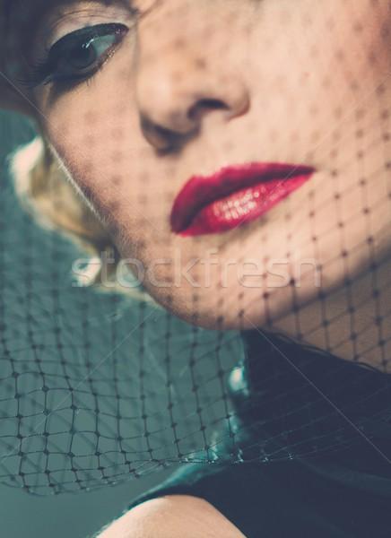 Zarif sarışın Retro kadın kırmızı ruj Stok fotoğraf © Nejron