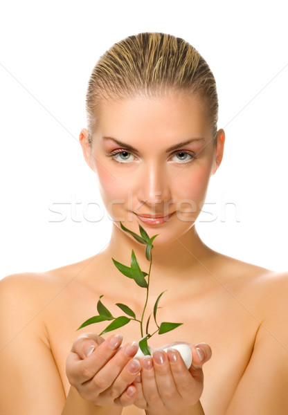 Beautiful blond girl holding young plant  Stock photo © Nejron