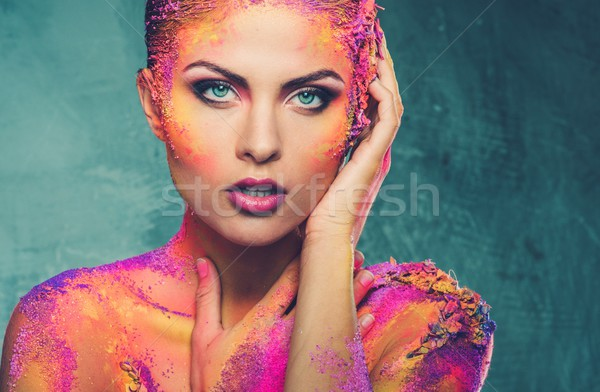 Beautiful young woman with conceptual colourful body art  Stock photo © Nejron