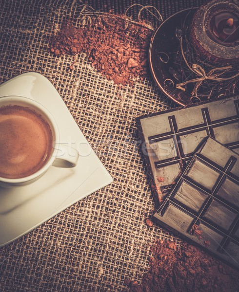 Coffee theme still-life on sackcloth Stock photo © Nejron
