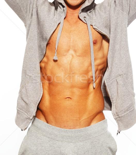 Stock fotó: Jóképű · férfi · szürke · mutat · abdominális · izmok · férfi
