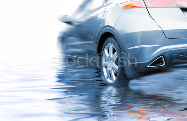 Sport car in rendered water Stock photo © Nejron