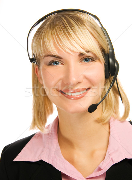 Amistoso línea directa operador mujer Internet feliz Foto stock © Nejron