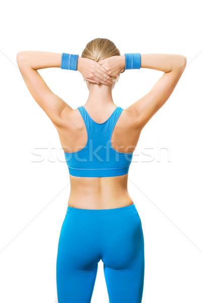 Fitness entrenador detrás mujer nina moda Foto stock © Nejron