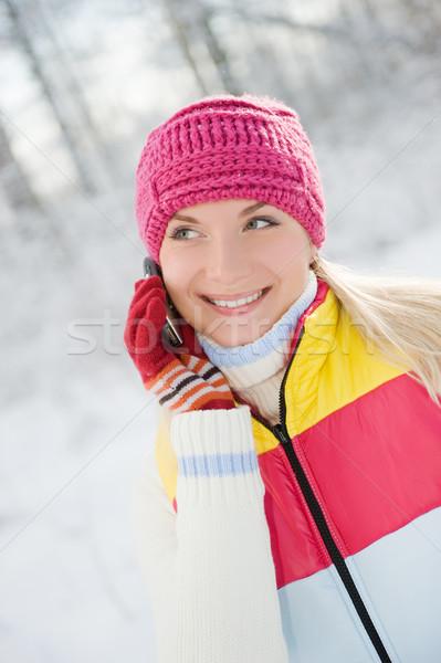 Piękna młoda kobieta mówić telefon komórkowy kobieta twarz Zdjęcia stock © Nejron