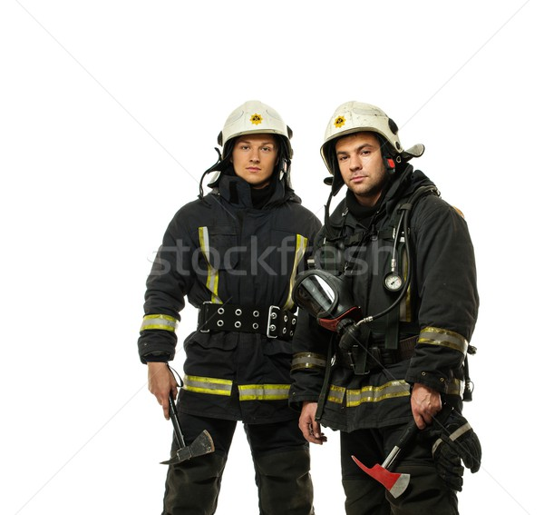 Two firefighter with axes isolated on white  Stock photo © Nejron
